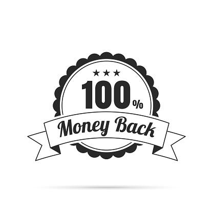 Trendy Badge (outline, line art) - 100% Money Back