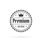 Black and white Trendy badge (Premium, Best Seller) in a line art style with a thin black outline, with shadow, isolated on a white background. Elements for your design, with space for your text. Vector Illustration (EPS10, well layered and grouped). Easy to edit, manipulate, resize or colorize.