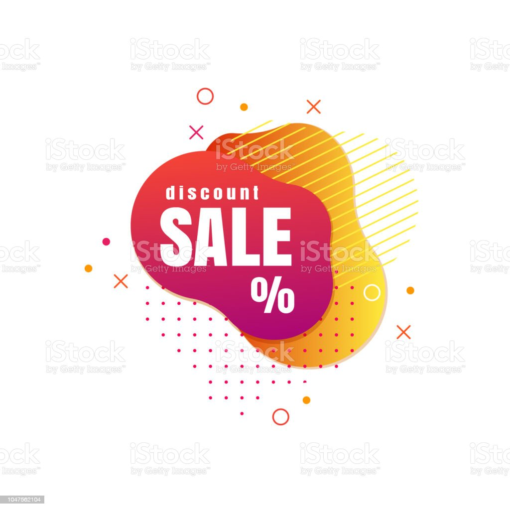 Trendy banner from liquid bubbles. Vector sale poster with splash creative design element. vector art illustration