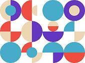 Trendy bauhaus pattern. Bauhaus poster. Vector geometric abstract circle shapes. Simple modern design elements. Fashion retro print. Geometric art.