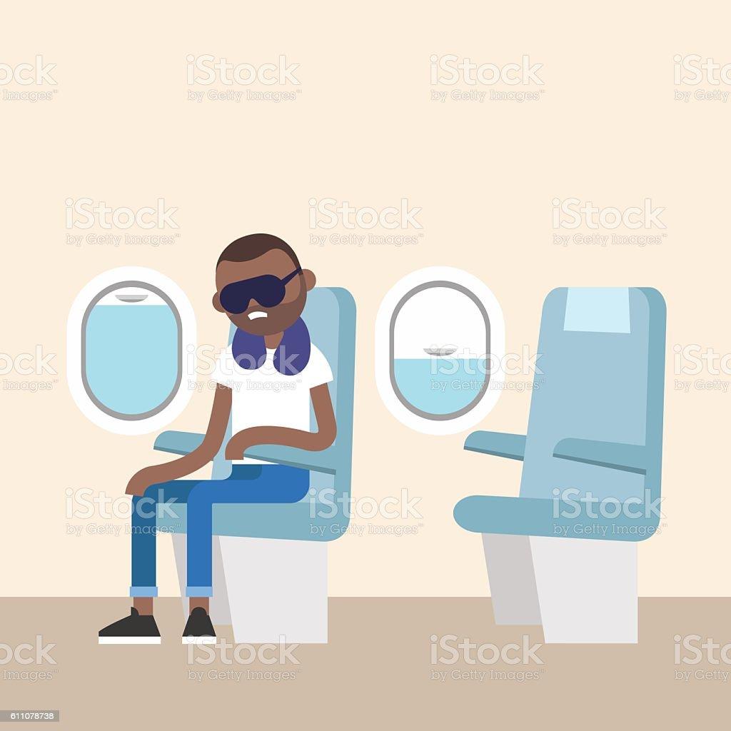 Trendy bearded black man sleeping on the plane vector art illustration