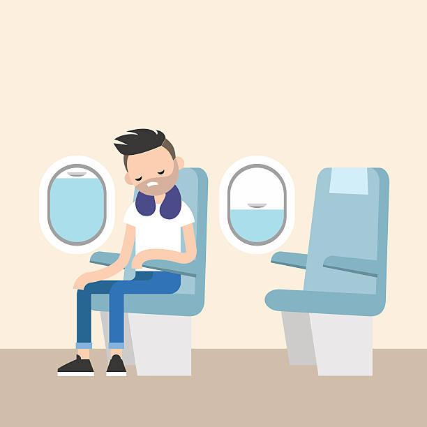 illustrazioni stock, clip art, cartoni animati e icone di tendenza di trendy bearded man sleeping on the plane - sedili aereo
