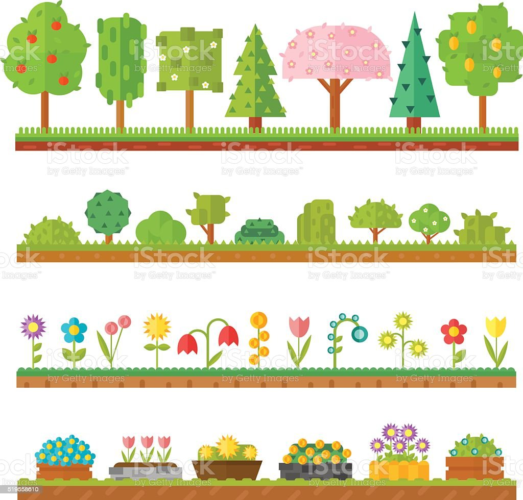 Trendy beautiful set of flat plants forest elements include grass vector art illustration