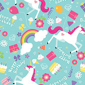 Trendy Birthday Girl Unicorn Seamless Vector Pattern