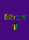 Trendy birthday greeting card. Cartoon-style multicolored lettering on a violet background with hand drawn gifts. Isolated design elements