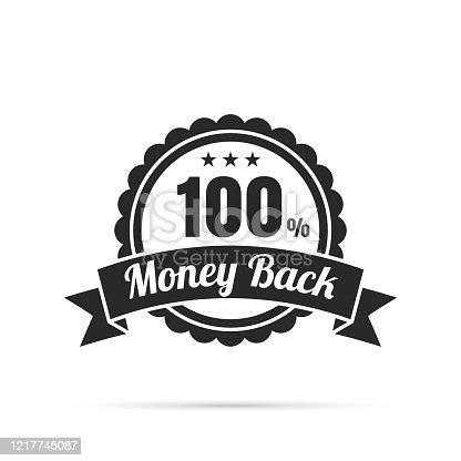 istock Trendy Black Badge - 100% Money Back 1217745087