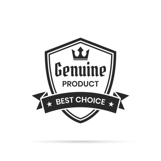 Trendy Black Badge - Genuine Product, Best Choice Black trendy badge (Genuine Product, Best Choice) with shadow, isolated on a white background. Elements for your design, with space for your text. Vector Illustration (EPS10, well layered and grouped). Easy to edit, manipulate, resize or colorize. Please do not hesitate to contact me if you have any questions, or need to customise the illustration. http://www.istockphoto.com/portfolio/bgblue shield stock illustrations