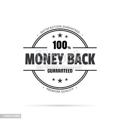 Black trendy badge (Money Back, 100% Guaranteed) with shadow, isolated on a white background. Elements for your design, with space for your text. Vector Illustration (EPS10, well layered and grouped). Easy to edit, manipulate, resize or colorize.