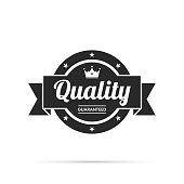 Black trendy badge (Quality, Guaranteed) with shadow, isolated on a white background. Elements for your design, with space for your text. Vector Illustration (EPS10, well layered and grouped). Easy to edit, manipulate, resize or colorize.