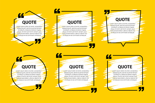 Trendy block quote modern design elements. Creative quote and comment text frame template.
