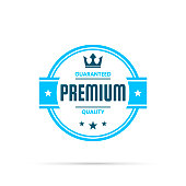 Blue trendy badge (Premium, Guaranteed Quality) with shadow, isolated on a white background. Elements for your design, with space for your text. Vector Illustration (EPS10, well layered and grouped). Easy to edit, manipulate, resize or colorize.