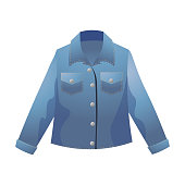 istock Trendy blue denim jacket front view. Vector illustration in flat cartoon style. 1198257423