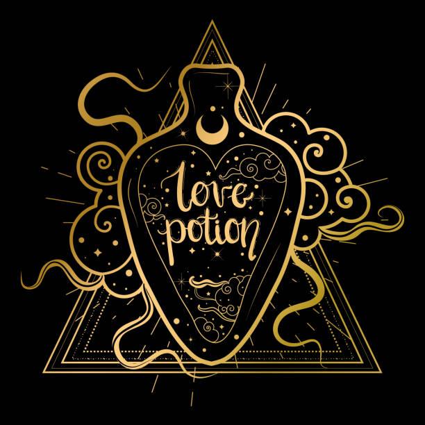 Trendy boho illustration with bottle of love potion. Trendy boho illustration with bottle of love potion. love potion stock illustrations