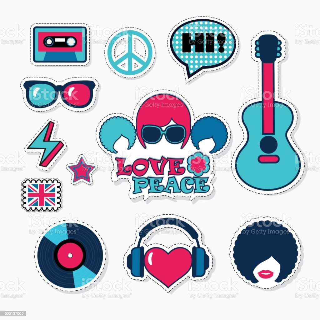 Trendy british musical patches, stickers and pins vector art illustration