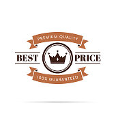 Brown Trendy badge (Best Price, Premium Quality, 100% Guaranteed), with shadow and isolated on a white background. Elements for your design, with space for your text. Vector Illustration (EPS10, well layered and grouped). Easy to edit, manipulate, resize or colorize.