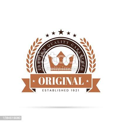 istock Trendy Brown Badge - Original, Premium Quality Guaranteed 1284619080