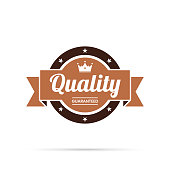 Brown Trendy badge (Quality, Guaranteed), with shadow and isolated on a white background. Elements for your design, with space for your text. Vector Illustration (EPS10, well layered and grouped). Easy to edit, manipulate, resize or colorize.