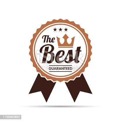 Brown Trendy badge (The Best, Guaranteed), with shadow and isolated on a white background. Elements for your design, with space for your text. Vector Illustration (EPS10, well layered and grouped). Easy to edit, manipulate, resize or colorize.