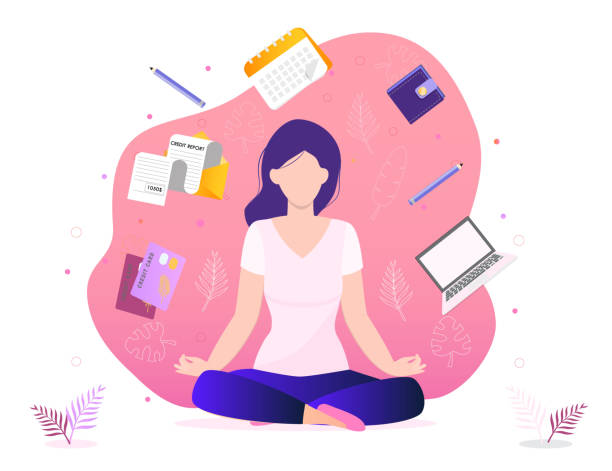 trendy business yoga concept vector. office meditation, self-improvement, controlling mind and emotions - wellness stock illustrations