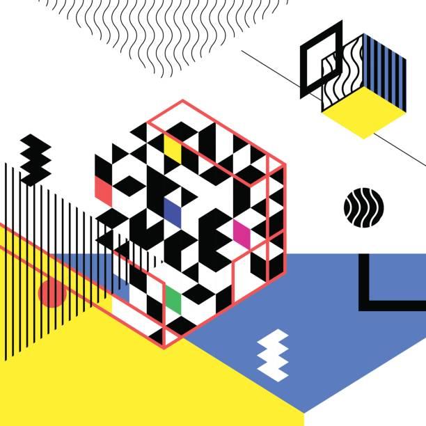 trendigen stil kartendesign. abstrakte geometrische elemente. layout-vorlage-plakat, karte, einladung, broschüre, flyer - bauhaus stock-grafiken, -clipart, -cartoons und -symbole