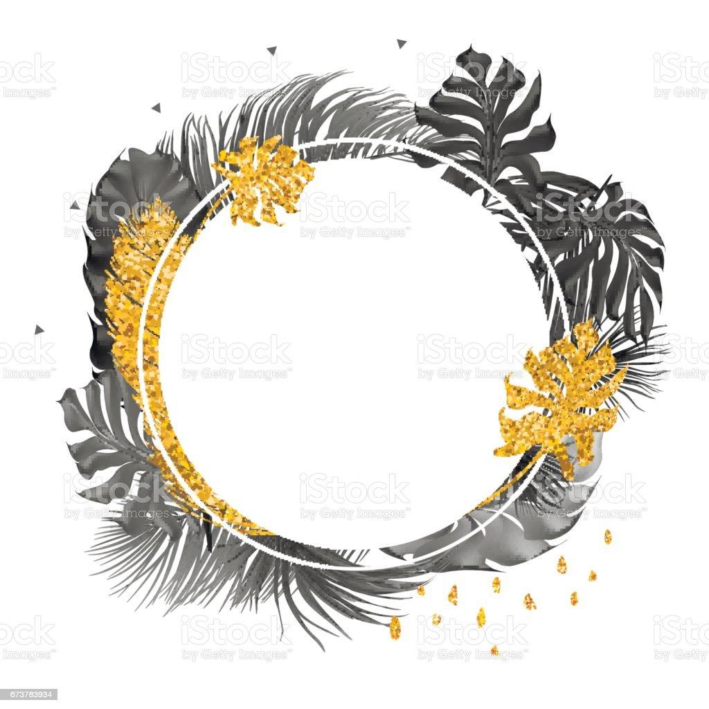 Trendy kartı ile tropikal palmiye yaprakları. royalty-free trendy kartı ile tropikal palmiye yaprakları stok vektör sanatı & altın - metal'nin daha fazla görseli