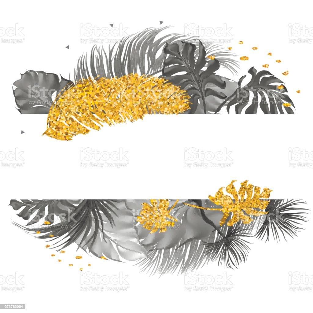 Feuilles de carte branché avec palmiers tropicaux. feuilles de carte branché avec palmiers tropicaux – cliparts vectoriels et plus d'images de art libre de droits