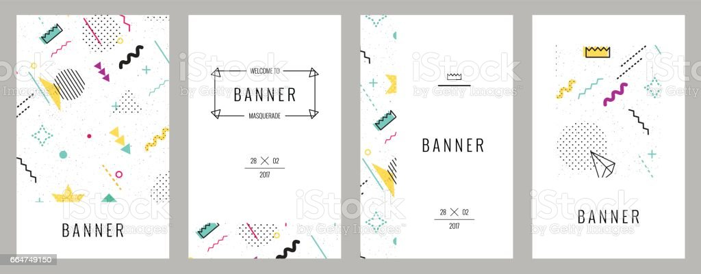 Trendy cards with abstract seamless pattern.