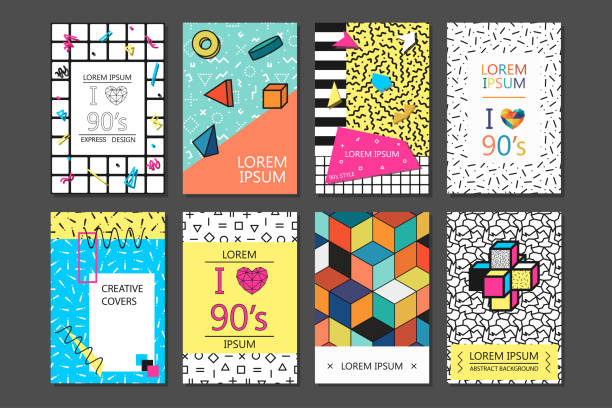 trendy cards with geometric elements. set of vector banners in retro style -fashion 80-90s - retro fashion stock illustrations, clip art, cartoons, & icons