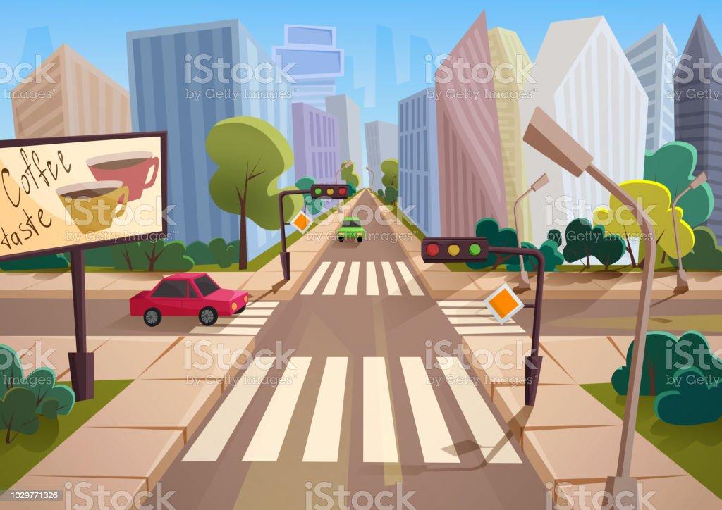 mode dessin animé dégradé style vecteur ville avec carrefour la
