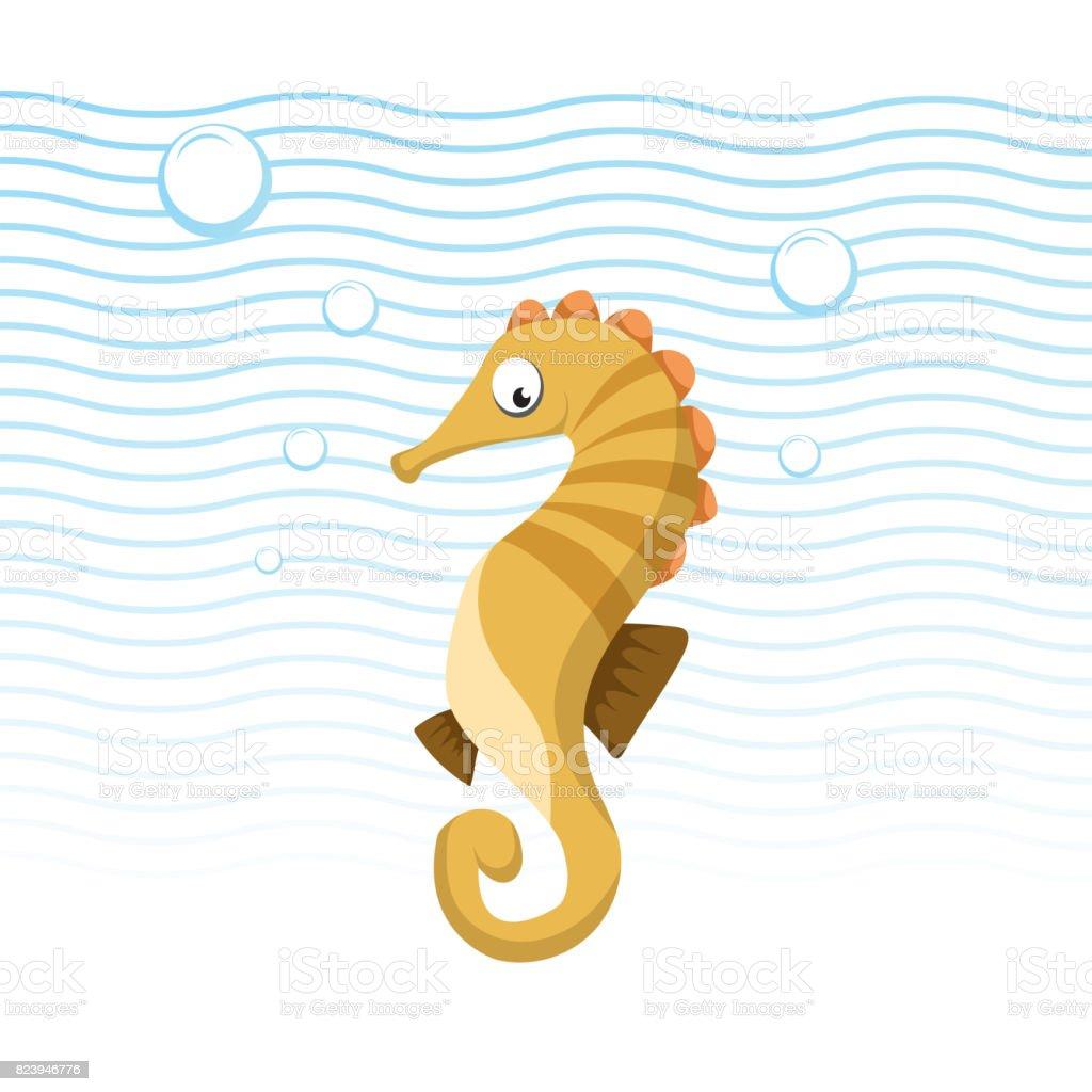 Caballo De Mar Moda De Dibujos Animados Nadando Bajo El Agua Diseño ...