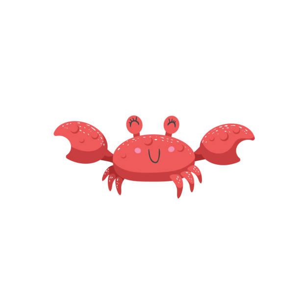 bildbanksillustrationer, clip art samt tecknat material och ikoner med trendiga tecknad stil röd krabba karaktär leende. enkla gradient platt design för barn utbildning. undervattenslivet. - krabba