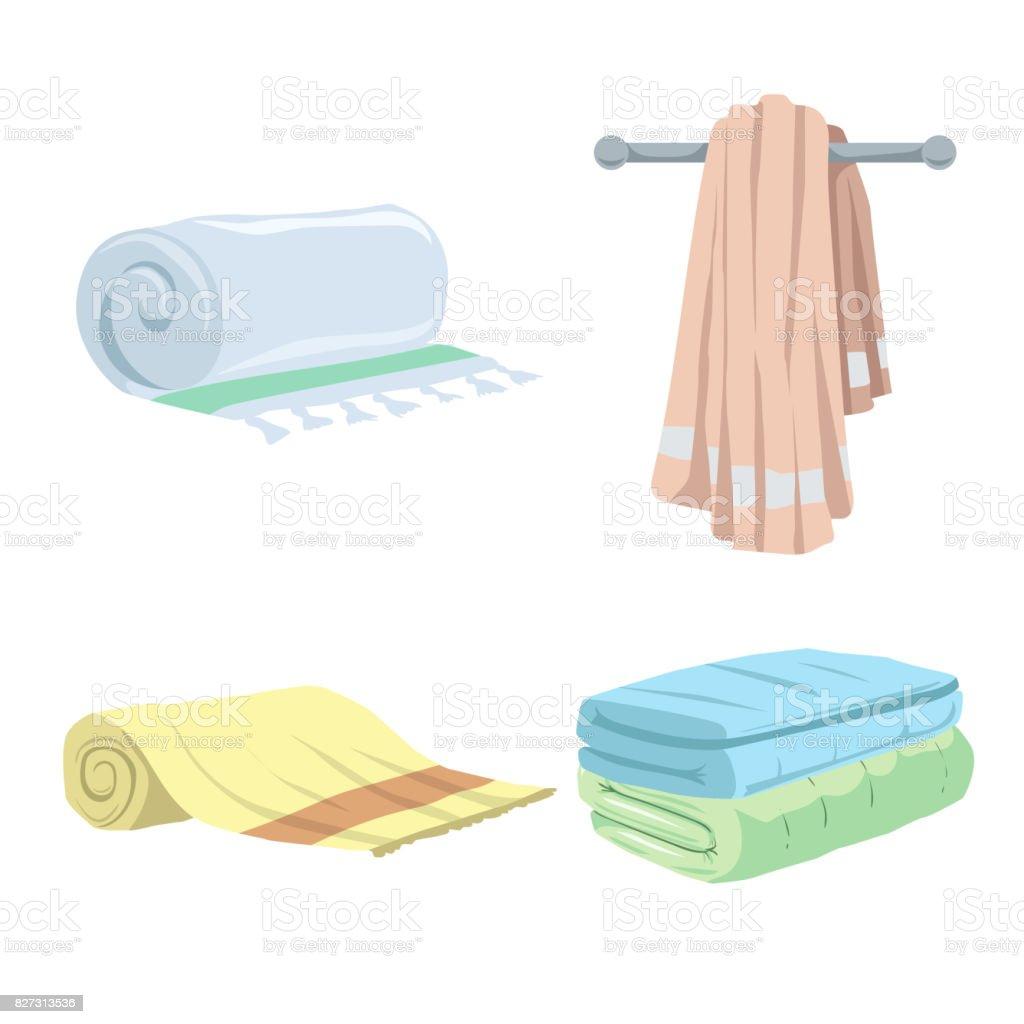 Trendy cartoon style towels icons set. Bath, home, hotel flat symbols. Vector hygiene illustration collection. vector art illustration