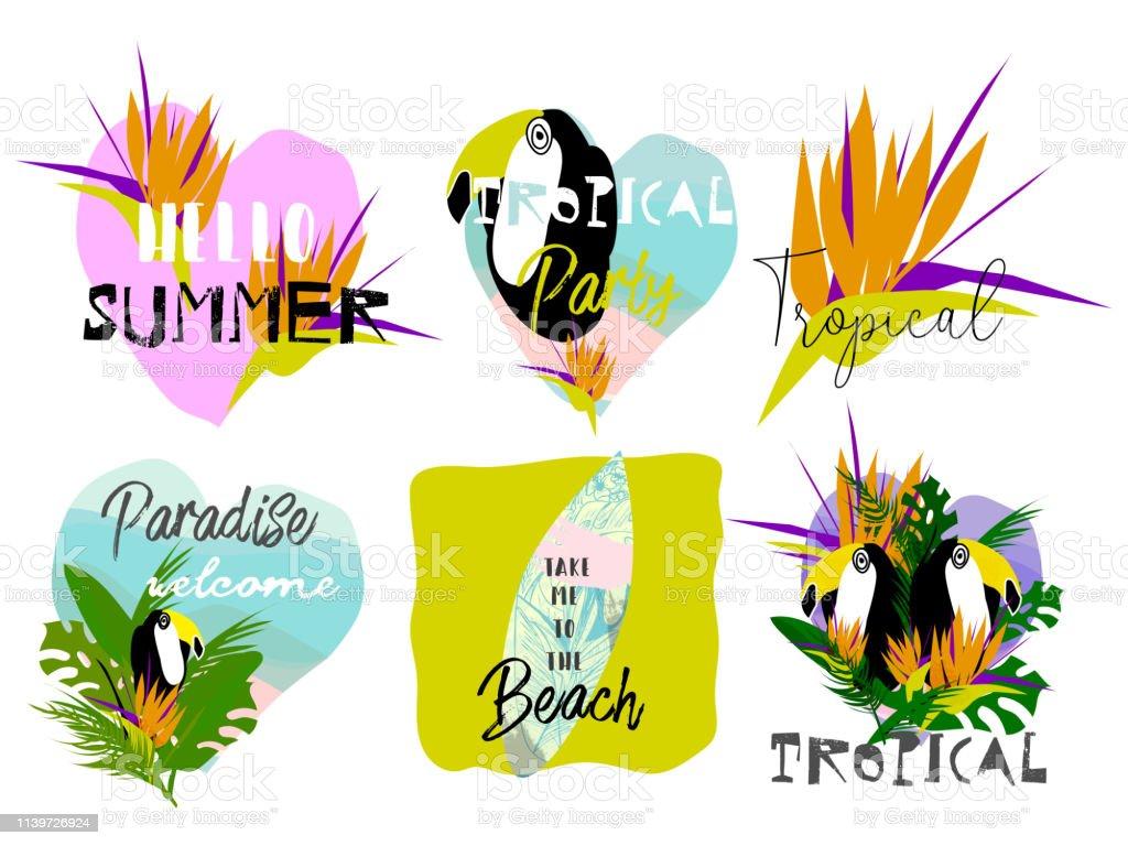 Estampados hawaianos chic de moda para ropa o tipografía - ilustración de arte vectorial