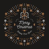Trendy Christmas Card Happy New Year, Minimal design Art Deco