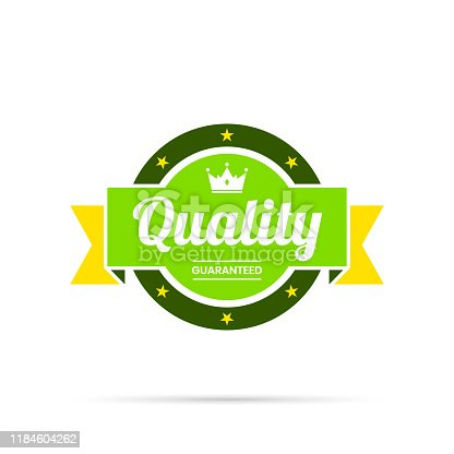 Multicolored Trendy badge (Quality, Guaranteed) (Yellow, green), with shadow and isolated on a white background. Elements for your design, with space for your text. Vector Illustration (EPS10, well layered and grouped). Easy to edit, manipulate, resize or colorize.
