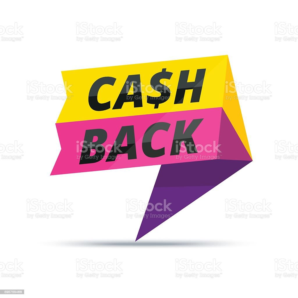 Trendy colorful cash back advertisement banner. Modern vector vector art illustration
