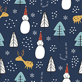 Trendy colorful christmas seamless pattern childish drawing style background. Vector cute hand drawn decorative illustration for kids, baby, and children fashion textile print.