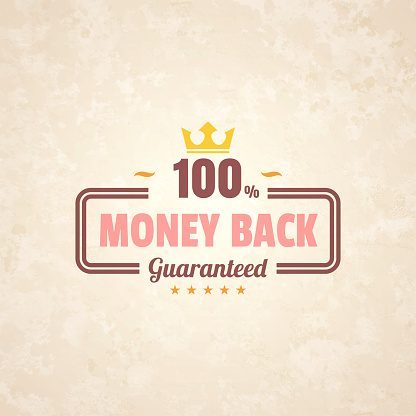Trendy Colorful Vintage Badge - Money Back, 100% Guaranteed