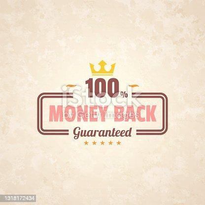 istock Trendy Colorful Vintage Badge - Money Back, 100% Guaranteed 1318172434