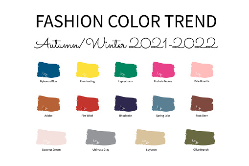 Fashion Color Trend Autumn – Winter  2021 - 2022. Trendy colors palette guide. Brush strokes of paint color with names swatches. Easy to edit vector template for your creative designs