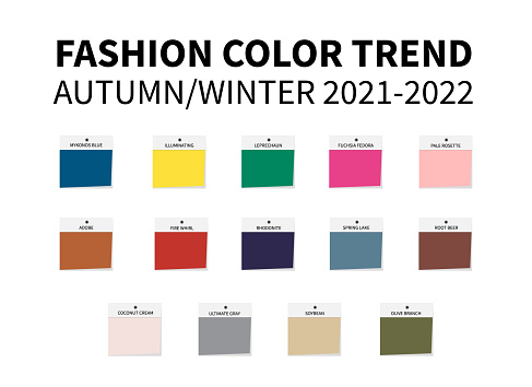 Fashion Color Trend Autumn – Winter  2021 - 2022. Trendy colors palette guide. Fabric swatches. Easy to edit vector template for your creative designs