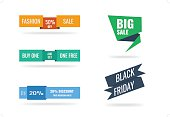 Set of web or print banners and badges.