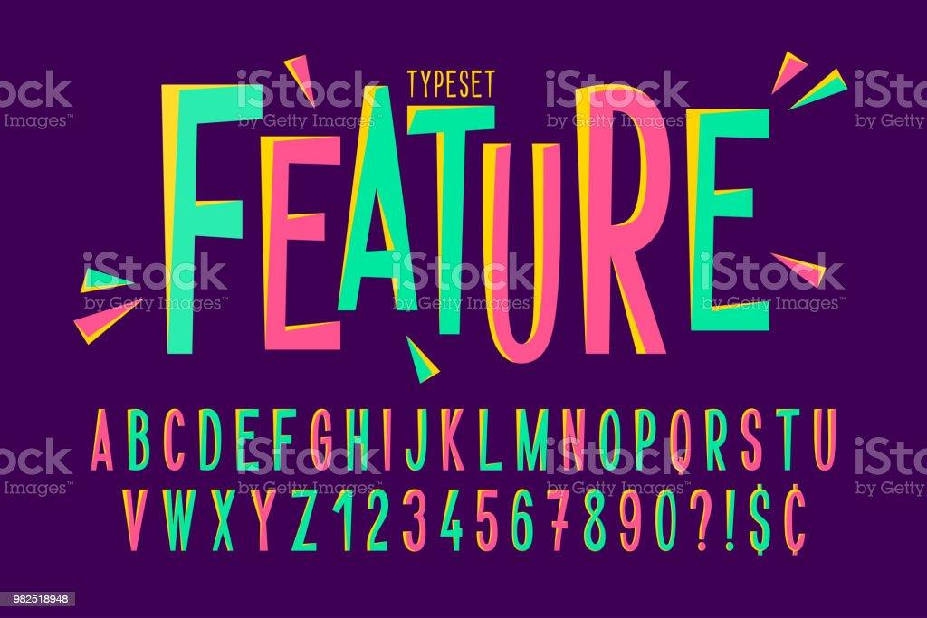 Trendy comical condensed font design, colorful alphabet