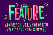 Trendy comical condensed font design, colorful alphabet, typeface. Vector illustration