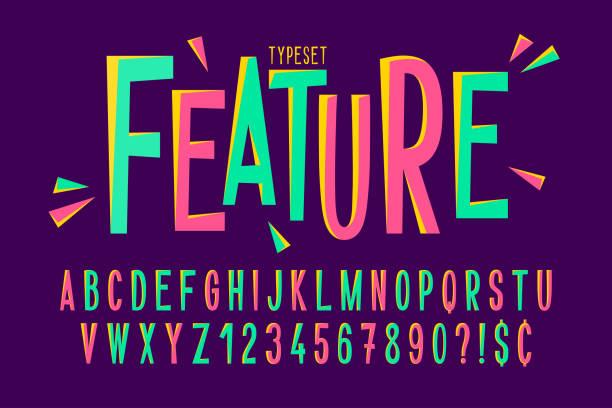 Trendy comical condensed font design, colorful alphabet Trendy comical condensed font design, colorful alphabet, typeface. Vector illustration alphabet patterns stock illustrations