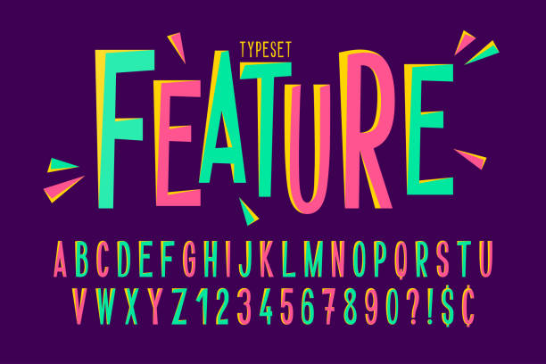 trendy comical condensed font design, colorful alphabet - alphabet designs stock illustrations