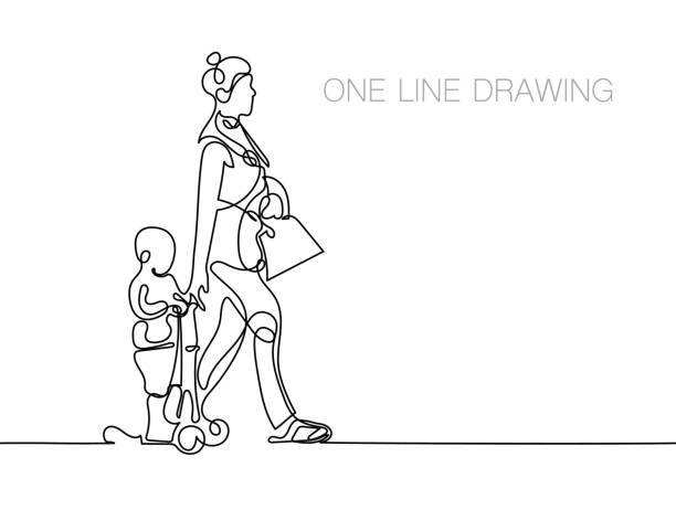 trendy continuous line black and white drawing in minimalistic s trendy continuous line black and white drawing in minimalistic style, the boy is riding a scooter, his mother is walking beside him and holding his hand, lineart vector illustration contour drawing stock illustrations
