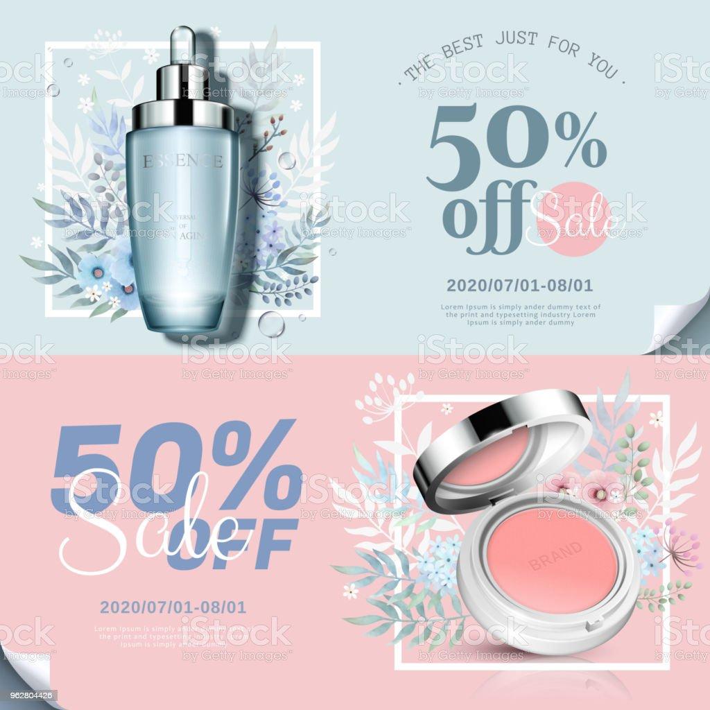 Trendy cosmetic products banner - arte vettoriale royalty-free di Affari