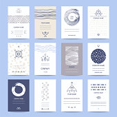 Business and company cards. Creative template collection of cards, flyers, banners with hand drawn textures, brush strokes, trendy thin line icons, geometric stylized illustrations. Isolated vector set.