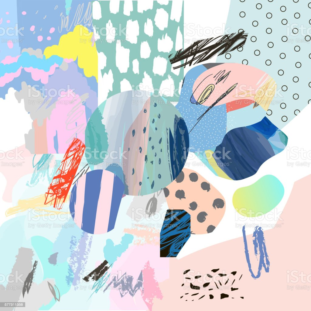 Trendy creative collage with different textures and shapes - Illustration vectorielle